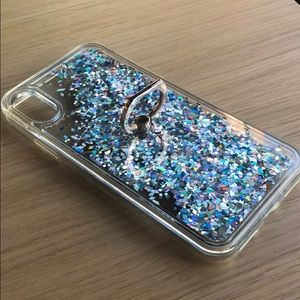 iPhone X Sparkle case with finger ring/stand